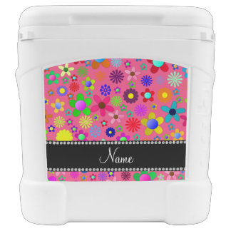 Personalized name pink colorful retro flowers igloo roller cooler