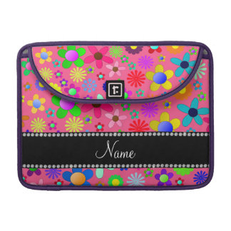 Personalized name pink colorful retro flowers sleeves for MacBook pro
