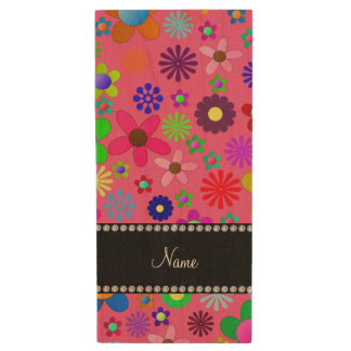 Personalized name pink colorful retro flowers wood USB 2.0 flash drive