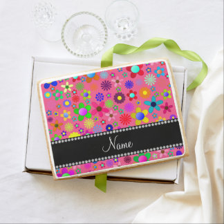 Personalized name pink colorful retro flowers jumbo cookie