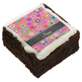 Personalized name pink colorful retro flowers brownie