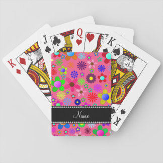Personalized name pink colorful retro flowers playing cards