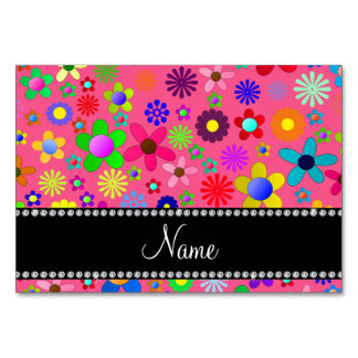 Personalized name pink colorful retro flowers table card