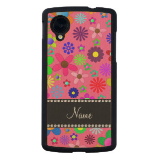 Personalized name pink colorful retro flowers carved® maple nexus 5 slim case