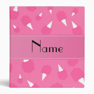 Personalized name pink cotton candy 3 ring binder