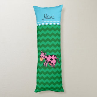 Personalized name pink cow green chevrons body pillow
