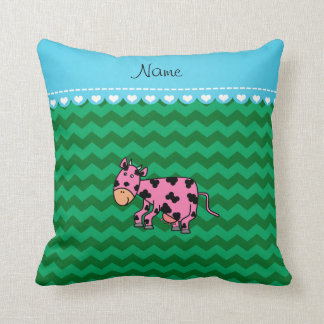 Personalized name pink cow green chevrons throw pillows