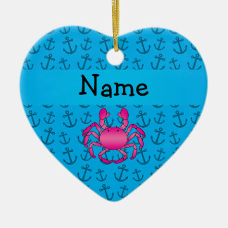 Personalized name pink crab blue anchors pattern ornament