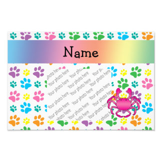 Personalized name pink crab rainbow paws photographic print