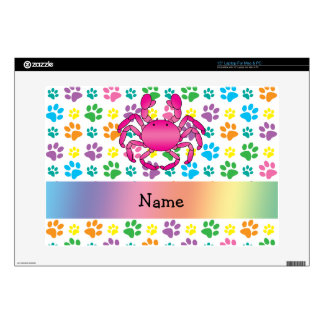 Personalized name pink crab rainbow paws decals for laptops