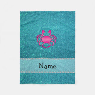 Personalized name pink crab turquoise glitter fleece blanket