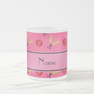 Personalized name pink cricket pattern 10 oz frosted glass coffee mug