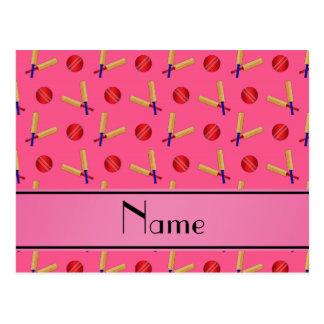 Personalized name pink cricket pattern postcard