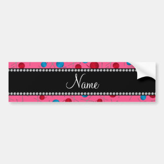Personalized name pink crochet pattern bumper stickers