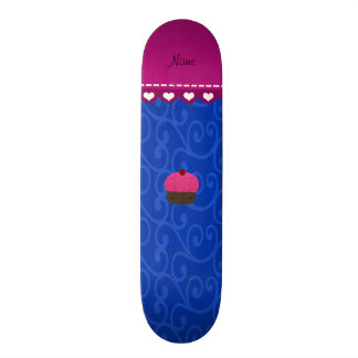 Personalized name pink cupcake blue swirls skateboard deck