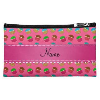 Personalized name pink cupcake pattern makeup bag