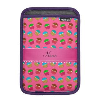 Personalized name pink cupcake pattern iPad mini sleeves