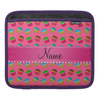 Personalized name pink cupcake pattern sleeves for iPads