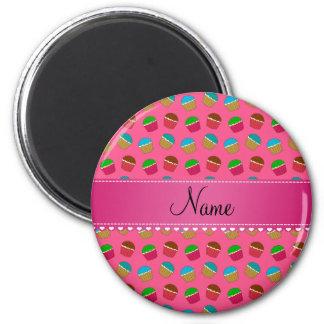 Personalized name pink cupcake pattern fridge magnets