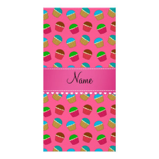 Personalized name pink cupcake pattern photo cards