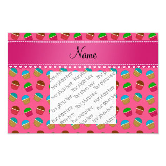 Personalized name pink cupcake pattern photograph