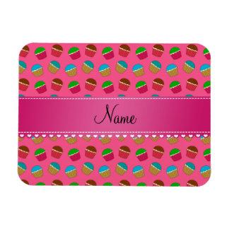 Personalized name pink cupcake pattern rectangular magnets