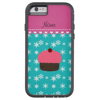 Personalized name pink cupcake turquoise snowflake tough xtreme iPhone 6 case