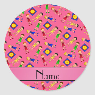 Personalized name pink cute boy wrestlers mat classic round sticker