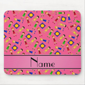 Personalized name pink cute boy wrestlers mat mouse pad