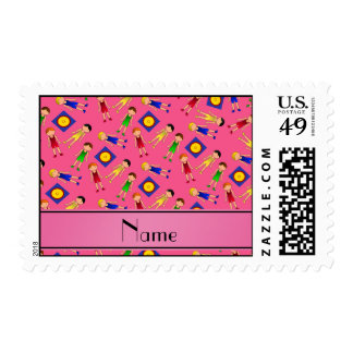 Personalized name pink cute boy wrestlers mat postage