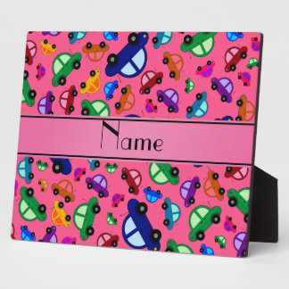 Personalized name pink cute car pattern display plaque