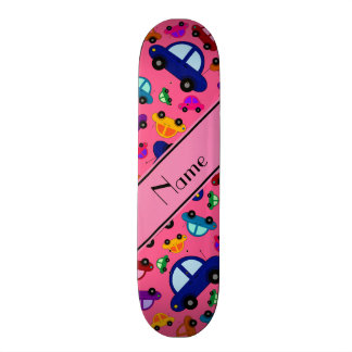 Personalized name pink cute car pattern skate board deck