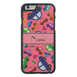 Personalized name pink cute car pattern carved® maple iPhone 6 case