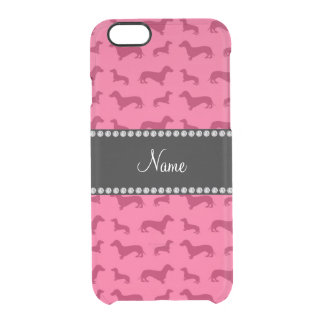 Personalized name pink dachshunds clear iPhone 6/6S case