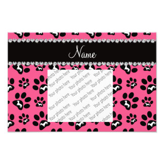 Personalized name pink dachshunds dog paws photo print
