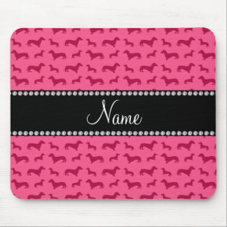 Personalized name pink dachshunds mouse pad