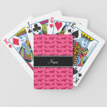 Personalized name pink dachshunds bicycle card deck