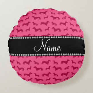 Personalized name pink dachshunds round pillow