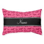 Personalized name pink dachshunds small dog bed