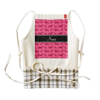 Personalized name pink dachshunds zazzle HEART apron