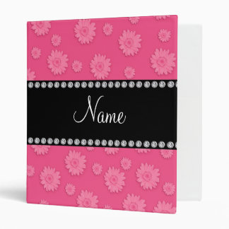 Personalized name Pink daisy flowers pattern 3 Ring Binder