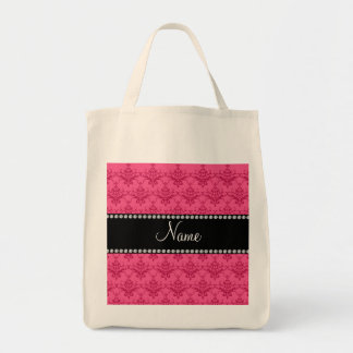Personalized name Pink damask Bags