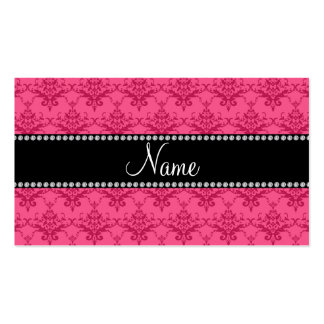 Personalized name Pink damask Business Cards