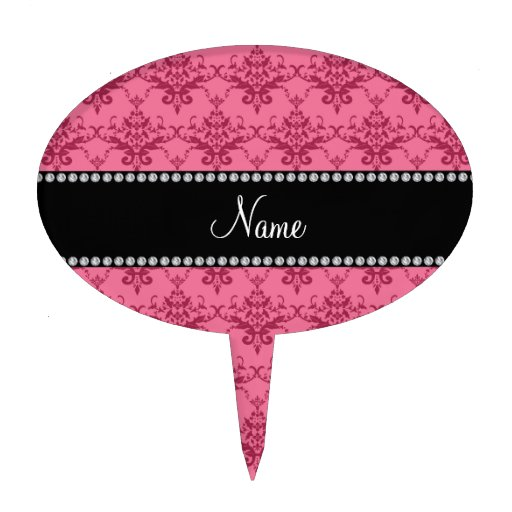 Personalized name Pink damask Cake Toppers