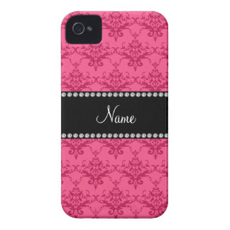 Personalized name Pink damask iPhone 4 Case