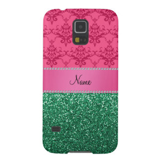Personalized name pink damask green glitter galaxy s5 cover