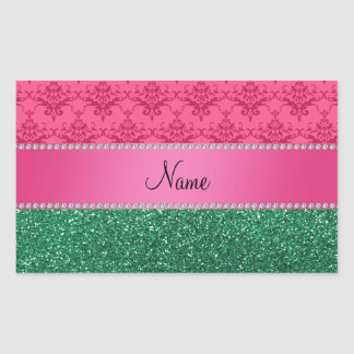 Personalized name pink damask green glitter rectangle sticker