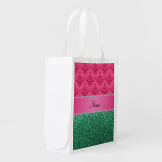 Personalized name pink damask green glitter reusable grocery bags
