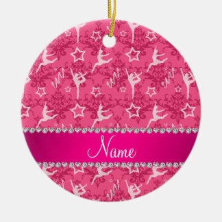 Personalized name pink damask gymnastics ceramic ornament