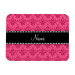 Personalized name Pink damask Magnets